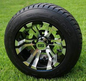 """10"""" VAMPIRE Golf Cart Wheels and 205/50-10 DOT Low Profile Golf Cart Tires Combo - Set of 4"""