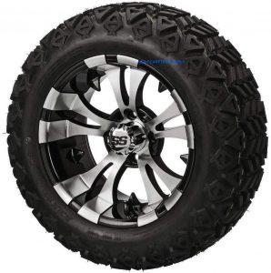 "14"" VAMPIRE Machined/Black Aluminum Wheels and 23x10-14"" DOT All Terrain Golf Cart Tires Combo - Set of 4"