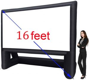 inflatable movie screen and projector