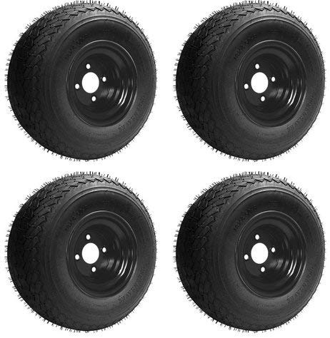18x8.50-8 GTX OEM Golf Cart Wheels and Golf Cart Tires Combo - Set of 4 (18x8.5-8, Black)