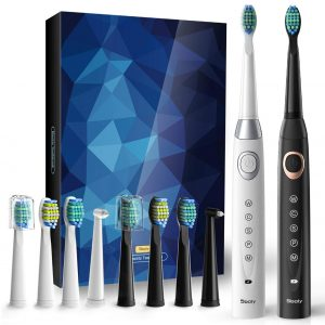 2 Sonic Electric Toothbrushes 5 Modes 8 Brush heads USB Fast Charge