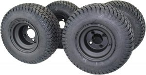 """8"""" MATTE BLACK STEEL GOLF CART WHEELS AND 18X8.50-8"""" TURF 4 PLY TIRES"""