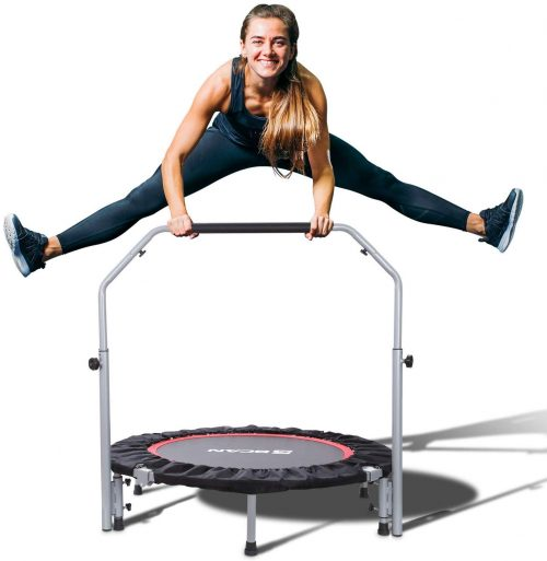 "BCAN 40"" Foldable Mini Trampoline, Fitness Rebounder with Adjustable Foam Handle"