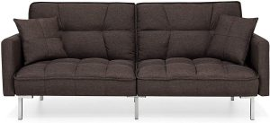 Best Choice Products Convertible Linen Splitback Futon Sofa Couch Furniture