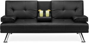 Best Choice Products Modern Faux Leather Futon Sofa Bed Fold Up & Down Recliner