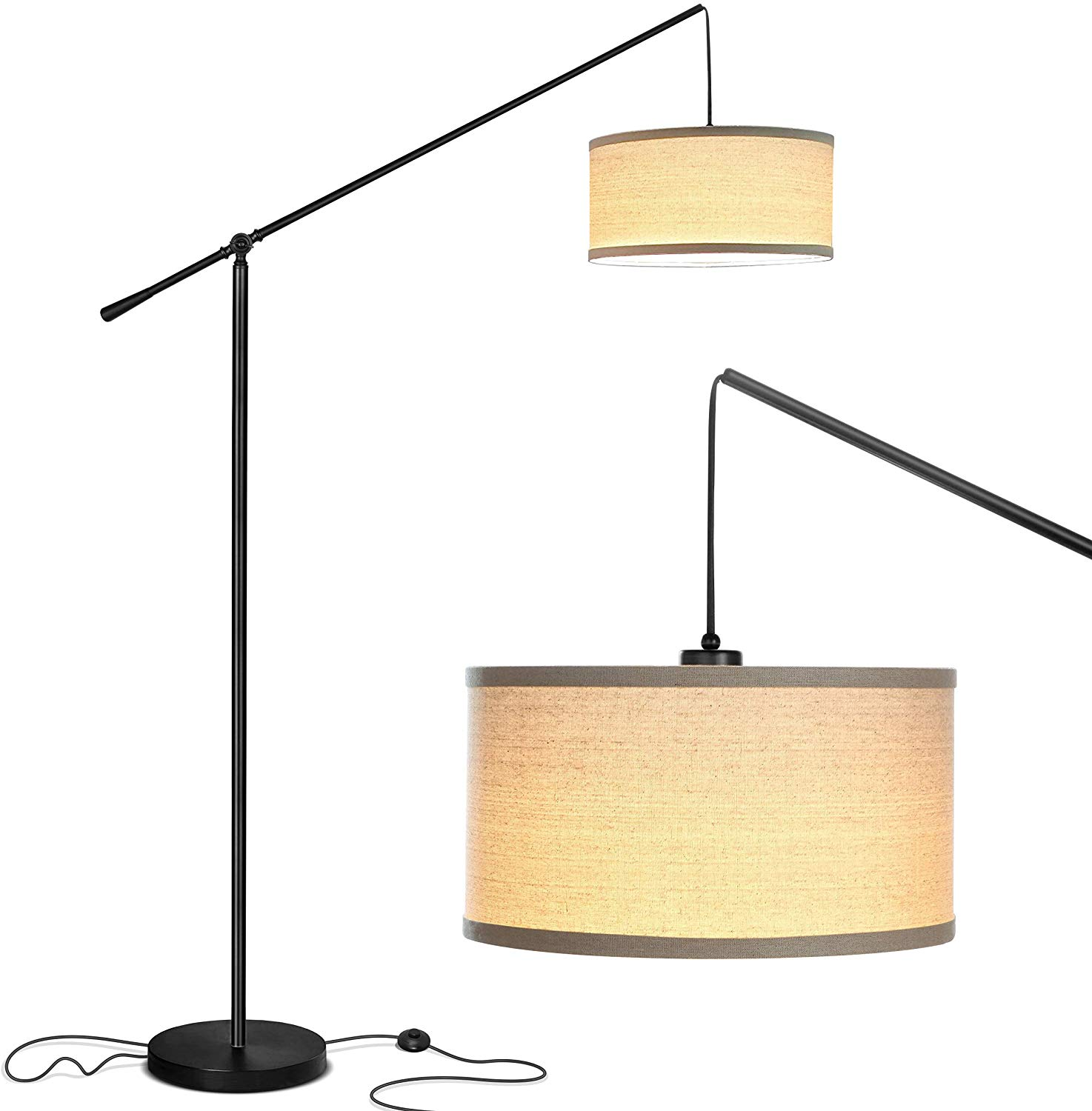 Brightech Hudson 2 - Contemporary Arc Floor Lamp Stands Up Over the Couch From Behind
