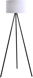 Catalina Lighting 19973-000 Modern Metal Tripod Floor Lamp with White Linen Shade