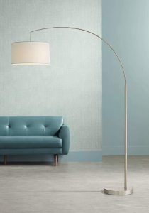 Cora Modern Arc Floor Lamp Brushed Steel Off White Linen Drum Shade