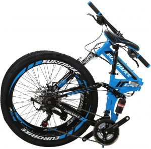 "Eurobike 26"" Full Suspension Mountain Bike 21 Speed Folding Bicycle"