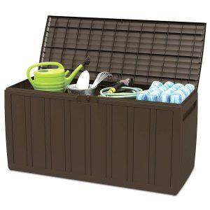 Giantex 80 Gallon Deck Box W/Handles for Easy Carrying Garden Container for Patio Garage