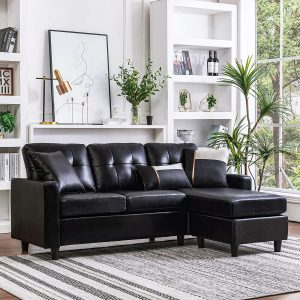 HONBAY Convertible Sectional Sofa Couch Leather L-Shape Couch with Modern Faux Leather Sectional