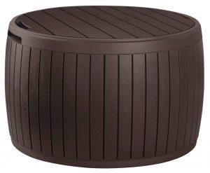Keter Circa 37 Gallon Round Deck Box, Patio Table for Outdoor Cushion Storage
