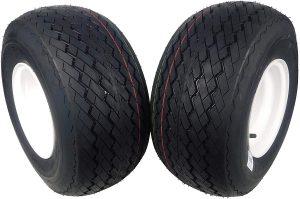 MASSFX Wheel & Tire Golf Cart Tire 18x8.5-8 with White MASSFX 8x7 4/4 Rim 2 PACK