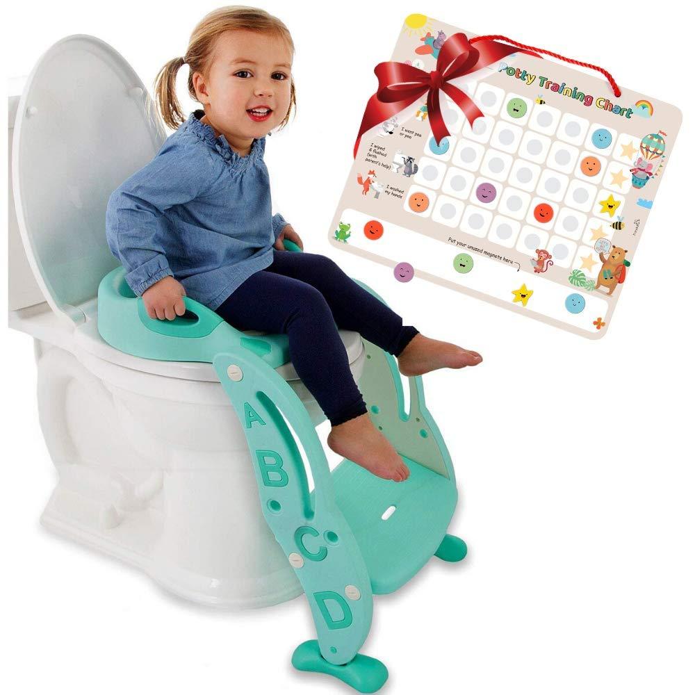 Potty Training Seat Unisex Kids &Toddler Toilet - Foldable Adjustable Ladder Anti-Slip Step w