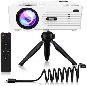 QKK Potable Mini Projector [with Tripod] LED Projector | 2020 Upgrade
