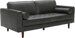 Rivet Aiden Mid-Century Leather Sofa with Tapered Wood Legs