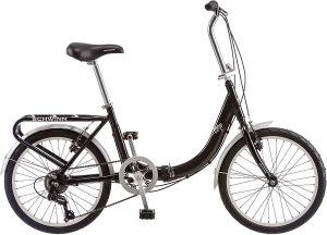 Schwinn Loop Folding Bicycle, Featuring Front and Rear Fenders, Rear Carry Rack, and Kickstand with 7-Speed Drivetrain
