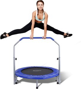 SereneLife Portable & Foldable Trampoline with Adjustable Handrail