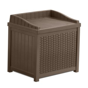 Suncast 22-Gallon Small Deck Box - Lightweight Resin Indoor/Outdoor Storage Container and Seat for Patio Cushions