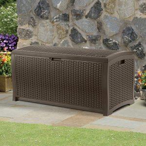 Suncast 99-Gallon Large Deck Box - Lightweight Resin Indoor/Outdoor Storage Container