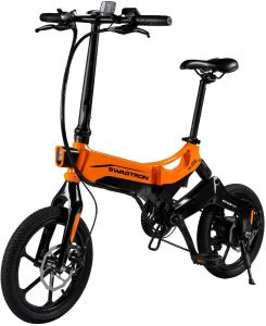 Swagtron EB7 Plus Folding Electric Bike with Removable Battery & 7-Speed Shimano
