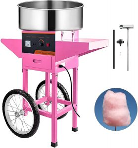 VBENLEM Commercial Cotton Candy Machine with Cart Pink 110V Stainless Steel Electric Candy Floss Maker