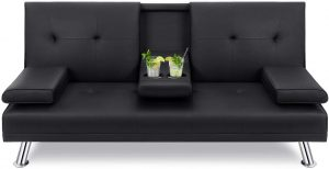 Walsunny Modern Faux Leather Couch, Convertible Futon Sofa Bed for Living Room with Armrest & Fold Up & Down Recliner Couch with Cup Holders