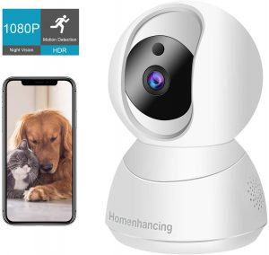 Wireless Dog Camera 1080P FHD, WiFi Pet Camera and Two Way Audio, Indoor Cat Camera and Motion Tracking/Detection