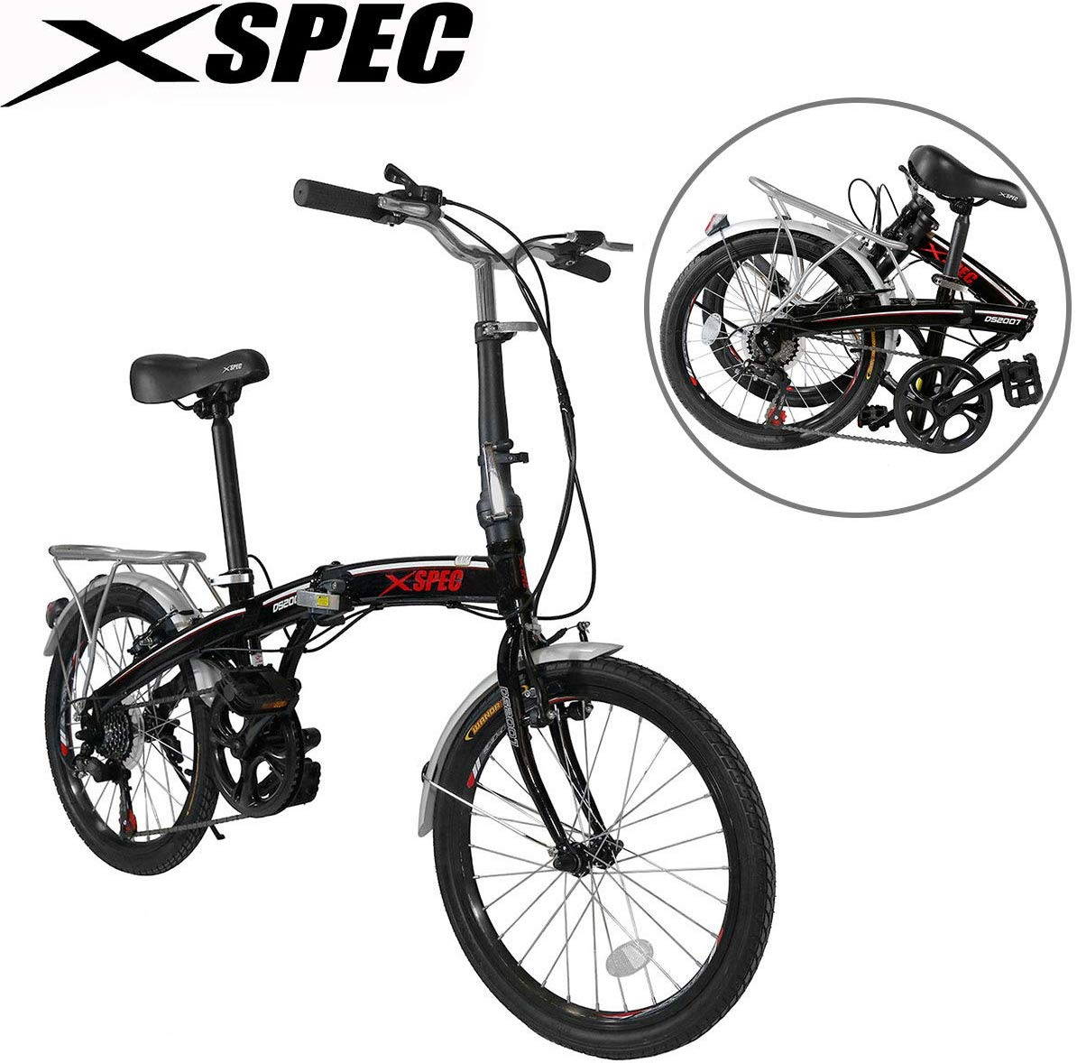 "Xspec 20"" 7 Speed City Folding Compact Bike Bicycle Urban Commuter"