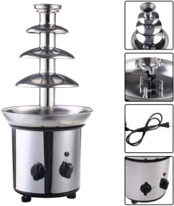 expert store VD-51743HW 4 Tiers Commercial Stainless Steel Hot Luxury Chocolate Fondue Fountain