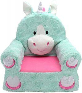 Teal Unicorn Children's Plush Chair
