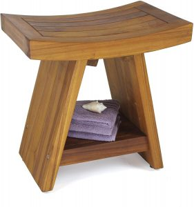 "AquaTeak Patented 18"" Asia Teak Shower Bench with Shelf"