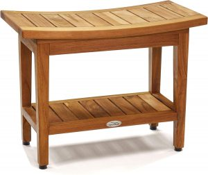 "AquaTeak Patented 24"" Maluku Teak Shower Bench with Shelf"