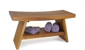 "AquaTeak Patented 30"" Asia Teak Shower Bench with Shelf"