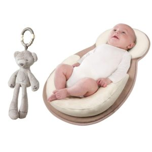 Baby Crib Mattress Sleep Positioner Newborn Lounger Anti Rollover Pillow Pad for 0-16 Months with Crib Plush Toy Included