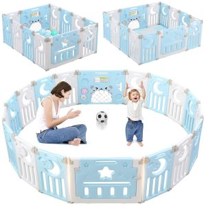 Baby Playpen, Dripex Upgrade 14-Panel Foldable Kids Activity Centre Safety Play Yard