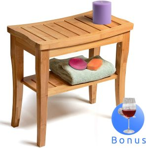 Bamboo Shower Bench Seat Wooden Spa Bath Deluxe Organizer Stool
