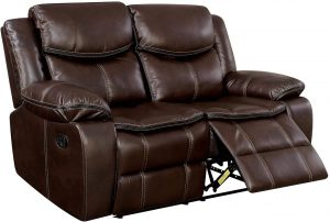 Benjara Benzara Transitional Style Double Recliner Love Seat With Center Console and Cupholder