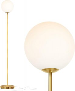 Brightech Luna - Frosted Glass Globe Floor Lamp - Mid Century Modern Standing Lighting