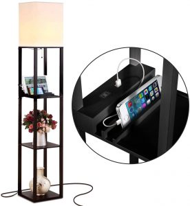 Brightech Maxwell Charger - Shelf Floor Lamp with USB Charging Ports & Electric Outlet