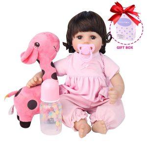 CHAREX Realistic Reborn Baby Dolls Girl, 18Inch Silicone Baby Dolls with Giraffe | silicone newborn baby doll | full body silicone reborn baby doll