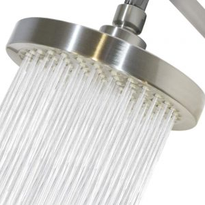Rain Shower Head Brushed Nickel finish- replacement with removable restrictor for high-pressure stream