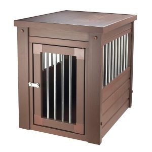 Contemporary End Table Pet Crate and Kennel with Stainless Steel Spindles