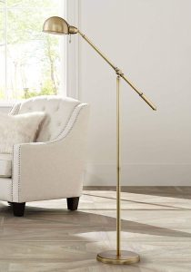 Dawson Modern Pharmacy Floor Lamp Antique Brass Adjustable Boom Arm and Head