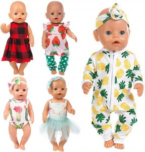 Ecore Fun 10 Item 14-16 Inch Baby Doll Clothes Dresses Outfits Pjs
