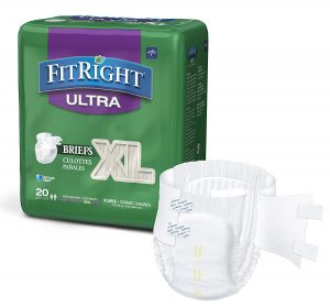 FitRight Ultra Adult Diapers, Disposable Incontinence Briefs with Tabs