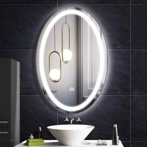 Fumango Wall Mounted Lighted Mirror Oval LED Bathroom