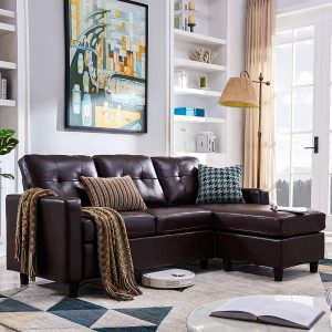 HONBAY Convertible Sectional Sofa Couch Leather | L-Shape Couch with Modern Faux Leather