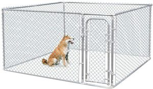 JAXPETY Foldable Metal Pet Exercise and Playpen | outside dog kennels for large dogs