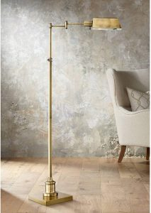 Jenson Modern Pharmacy Floor Lamp Aged Brass Adjustable Swing Arm Metal Shade